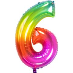 Folieballon Yummy Gummy Rainbow Cijfer 6