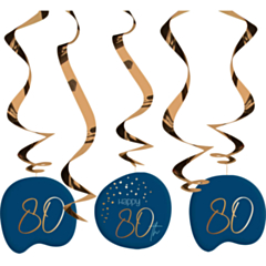 Hangdecoratie Elegant True Blue 80 Jaar