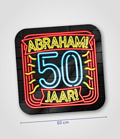 Neon huldeschild 50 jaar Abraham