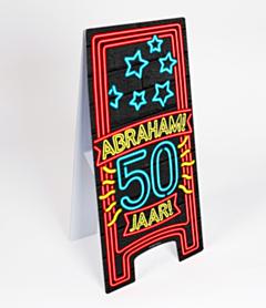 Neon Warning Sign 50 jaar Abraham