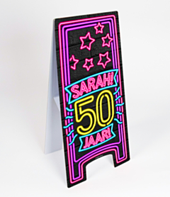 Neon Warning Sign 50 jaar Sarah