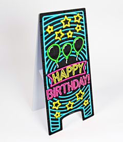 Neon Warning Sign Happy Birthday