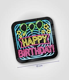 Neon onderzetters - Happy Birthday