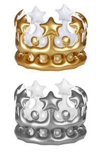 Kroon opblaasbaar goud/zilver