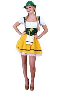 Tiroler jurk kort geel/groen S-M