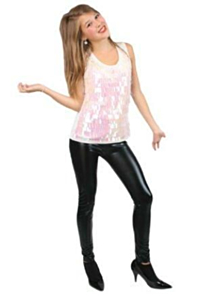 Dames topje wit metallic one size