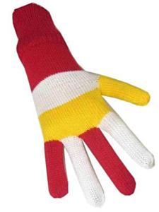 Handschoen rood/wit/geel volwassen