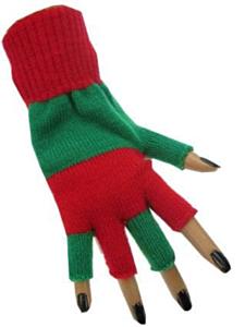 Vingerloze handschoen groen/rood
