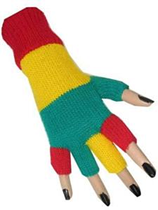 Vingerloze handschoen rood/geel/groen