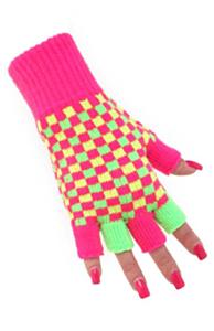 Vingerloze handschoen neon geblokt