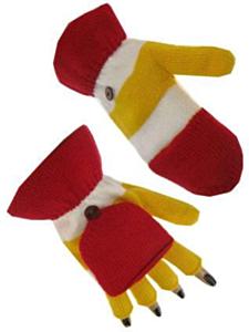 Vingerloze handschoen rood/wit/geel