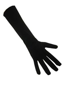 Handschoenen stretch zwart luxe nylon 40 cm (Piet) L