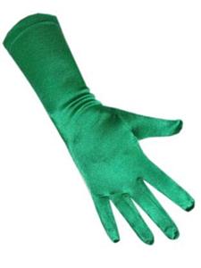 Handschoenen satijn stretch  luxe 40 cm groen