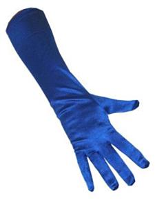 Handschoenen satijn stretch  luxe 40 cm blauw