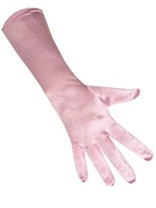 Handschoenen satijn stretch luxe 40 cm baby roze