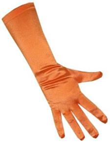 Handschoenen satijn stretch luxe 40 cm oranje