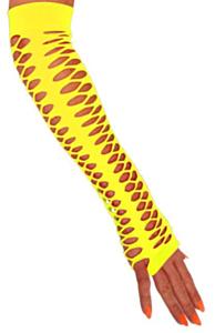Handschoenen vingerloos grote gaten fluor geel