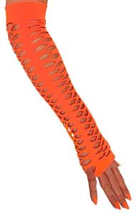 Handschoenen vingerloos grote gaten oranje