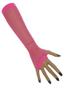 Nethandschoenen lang vingerloos fluor pink