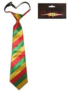 Stropdas rood/geel/groen smalle streep