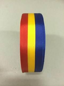 Medaille lint rood/geel/blauw 25 mm