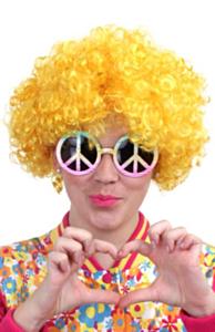 Pruik hippy geel