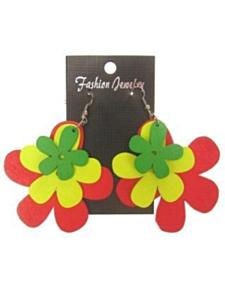 Oorbel rood/geel/groen bloem