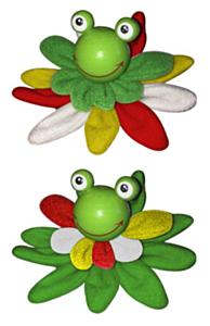 Broche kikkerkop op pluche lelyblad