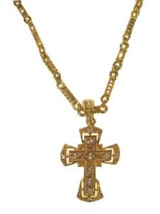 Collier met kruis goud + strass stenen