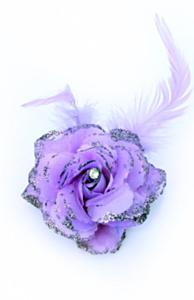 Bloemen op speld/elastiek paars