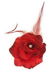 Bloem op speld/elastiek rood
