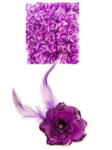 Bloem op speld/elastiek lila