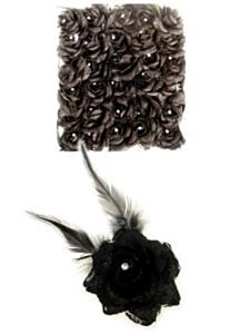 Bloem op speld/elastiek zwart