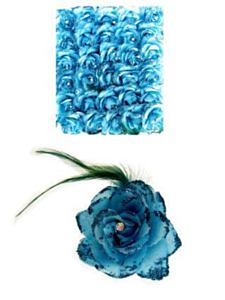 Bloem op speld/elastiek turquoise