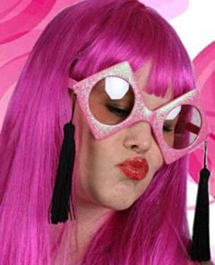 Rechters bril roze + zwarte flosjes