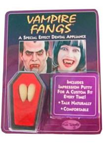 Vampiertanden 2 stuks in kistje (Halloween)