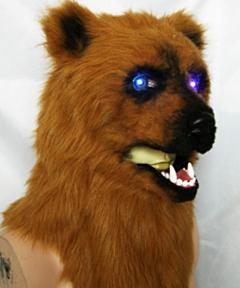 Volkop masker bruine beer met licht + beweging