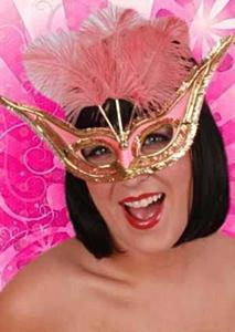 Oogmasker gran gala pink+veren paars-pink