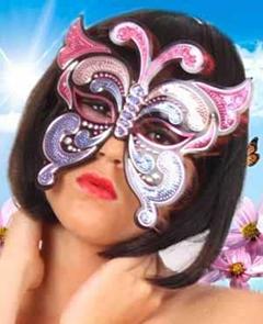 Oogmasker vinyl vlinder+pailletten pink/paars