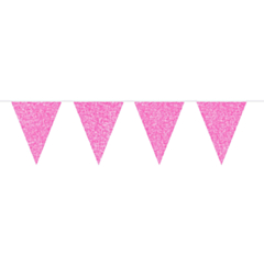Vlaggenlijn glitter roze 6m