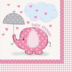 Servetten Babyshower umbrellaphants roze