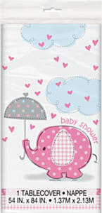 Tafelkleed Babyshower Umbrellaphants roze
