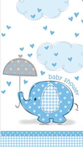 Tafelkleed Babyshower umbrellaphants blauw
